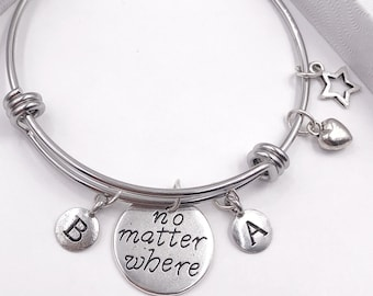 Inspirational No Matter Where Friendship Bracelet, Personalized Silver Jewelry Gifts for Women and Girls, Your Choice of Letter Style Charm!