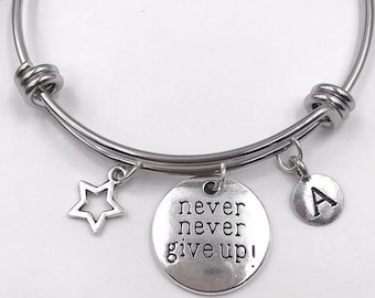 Inspirational Bracelet, Personalized Silver Jewelry Gifts for Women and Girls, Includes Your Choice of Letter Style Charm!