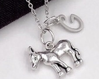 Donkey Charm Necklace, Silver Donkey Charm, Farm Animal, Veterinary Gift, Gift for Women and Girls, Personalized Initial Jewelry