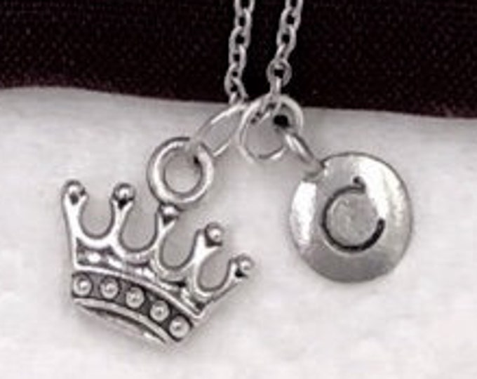 Princess Necklace Gifts, Silver Princess Crown Necklace Jewelry for Women and Girls, Personalized Intial Charm Necklaces