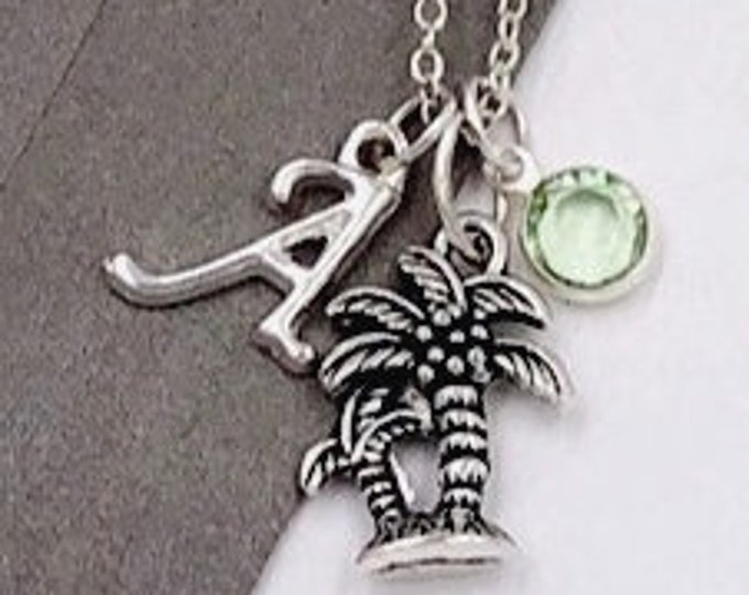 Personalized Women's and Girls Silver Jewelry Gifts, Palm Tree Necklace Includes a Sterling Silver Birthstone and Letter Charm
