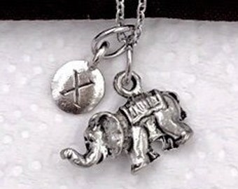 Elephant Animal Gifts, Silver Elephant Necklace, Animal Necklace, Jewelry for Women and Girls, Personalized Intial Charm Necklaces
