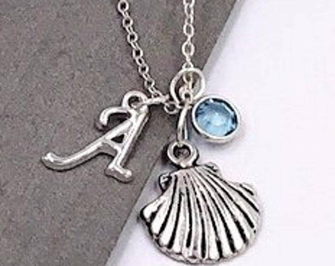 Seashell Gifts, Personalized Silver Seashell Necklace Jewelry for Women and Girls, Sterling Silver Birthstone and Letter Charm Included