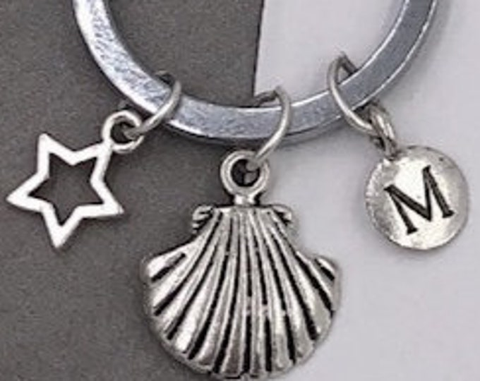 Seashell Keychain, Personalized Silver Beach Keyring Jewelry Gifts, Letter Charm Included, Sterling Silver Birthstone Add On Available
