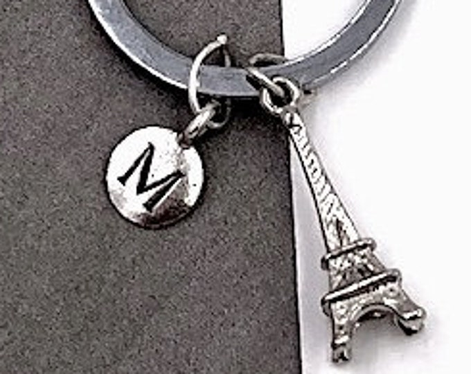 Personalized Silver Initial Travel Keychain Gifts, Eiffel Tower Keychain Accessory, Sterling Silver Birthstone Add On's Available