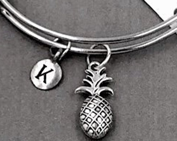 Pineapple Bracelet, Personalized Silver Jewelry Gifts for Women and Girls Includes Letter Charm, Sterling Silver Birthstone Add On Available
