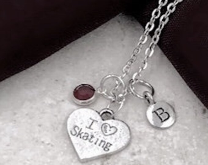 "Message Jewelry, ""I Love Skating"" Necklace, Ice Skating Necklace, Women and Girls Jewelry Gifts, Personalized Initial Birthstone Jewelry"