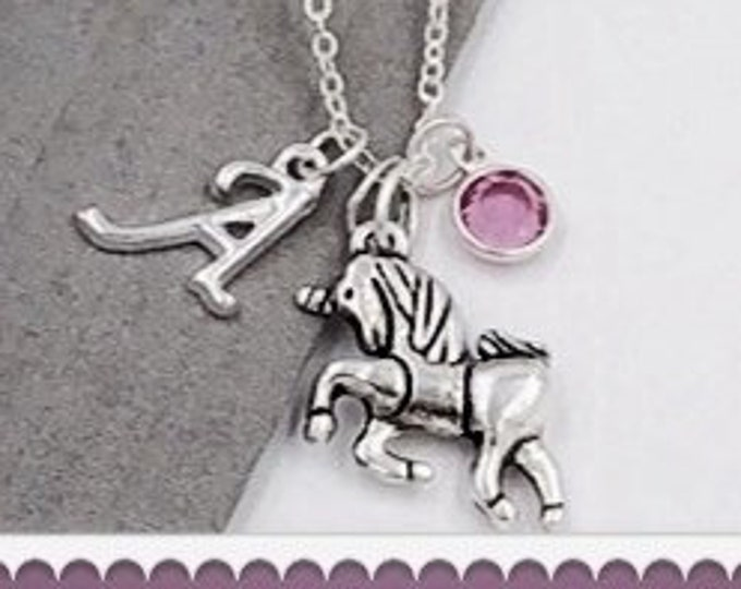 Personalized Silver Jewelry Gifts for Women and Girls, Unicorn Necklace Includes a Sterling Silver Birthstone and Letter Charm