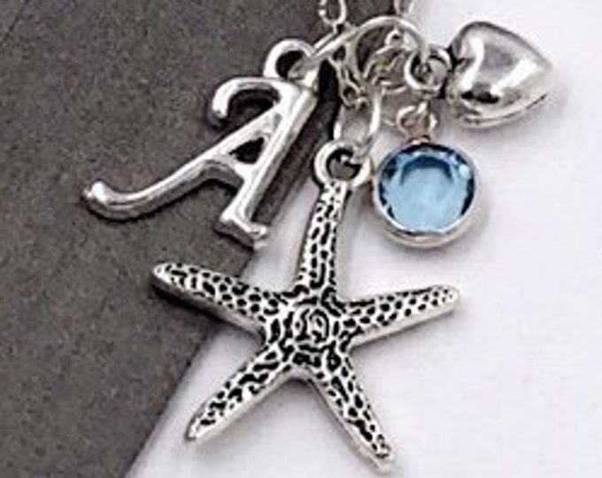 Starfish Gifts, Personalized Silver Starfish Jewelry Necklace for Women and Girls, With Sterling Silver Birthstone and Letter Charm