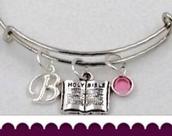 Bible bangle bracelet, Bible bangle charm bracelet, silver bangle bracelet, birthstone bangle bracelet, Christian bracelet, christian bangle
