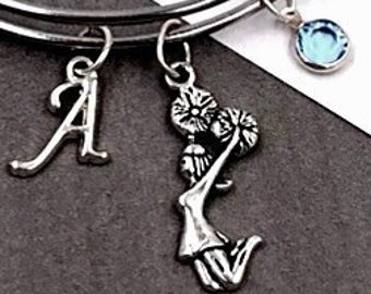 Personalized Cheerleader Bracelet Gifts, Silver Cheer Jewelry for Women and Girls, Sterling Silver Birthstone and Letter Charm Included
