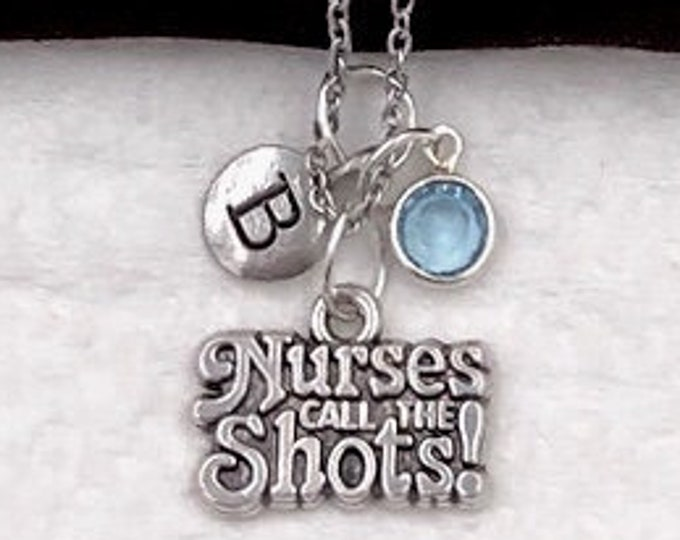 Nurse Gifts, Personalized Silver Nurse Jewelry Necklace for Women and Girls, With Sterling Silver Birthstone and Letter Charm