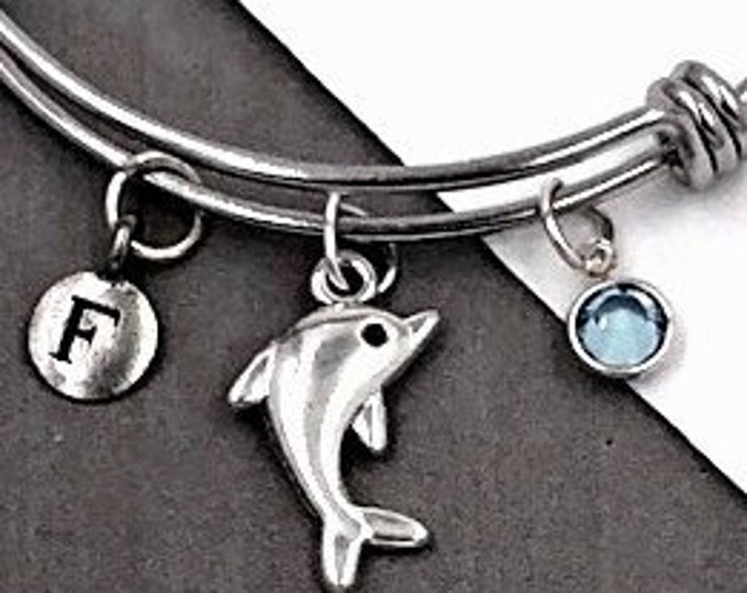 Dolphin Gifts, Personalized Silver Dolphin Bracelet Jewelry For Women and Girls, Sterling Silver Birthstone and Initial Included