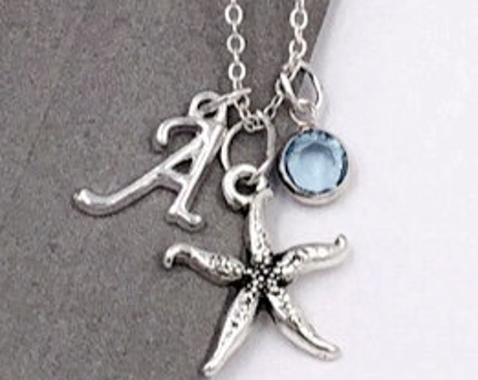 Starfish Necklace Gifts, Personalized Silver Starfish Jewelry for Women and Girls, With Sterling Silver Birthstone and Letter Charm