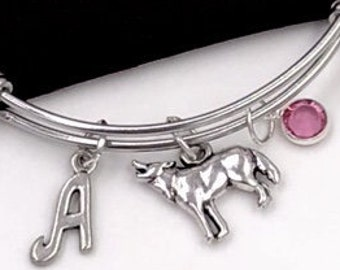 Wolf Charm Bracelets, Silver Wolf Bangles, Wild Animals, Wolf Dogs, Gifts for Women and Girls, Personalized Initial Birthstone Jewelry