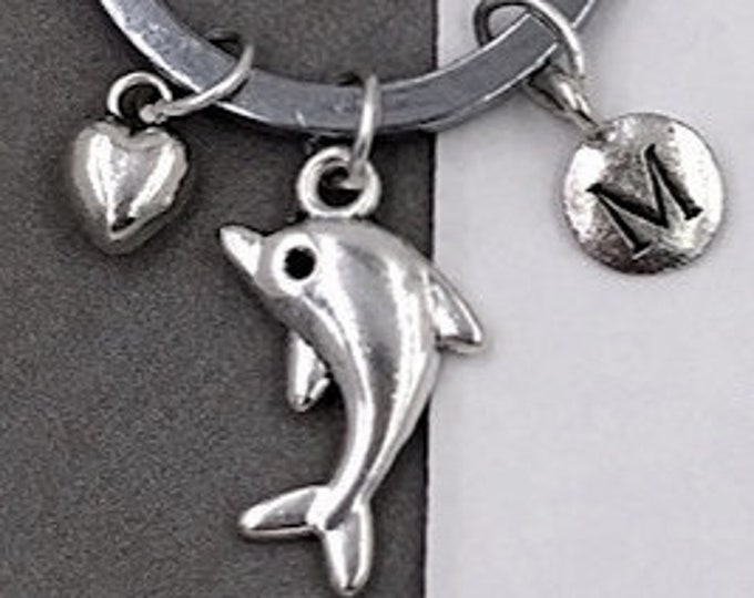 Dolphin Keychain Accessory, Silver Charm Keyrings to Compliment Bags Purses and Lanyards, Popular Personalized Gift Ideas for Men and Women