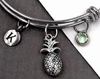 Pineapple Gifts, Personalized Silver Pineapple Bracelet Jewelry For Women and Girls, Sterling Silver Birthstone and Initial Included