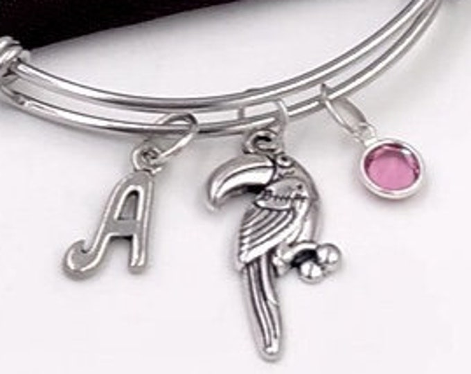 Silver Toucan Bird Bangle Charm Bracelet, Gift for Women and Girls, Animal Pet Jewelry, Personalized Initial Birthstone Jewelry Gift for Vet