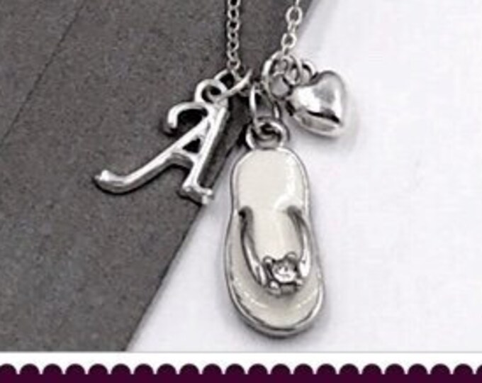 Flip Flop Necklace, Rhinestone Flip Flop Jewelry Gift, Beach Necklace, Beach Jewelry, Summer Jewelry Gift, Popular Necklaces, Personalized