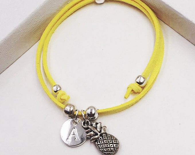 Pineapple Bracelet or Anklet, With Your Choice of Letter Charm, Great Gift Idea for Women and Girls, Comes in 20 Different Vibrant Colors!