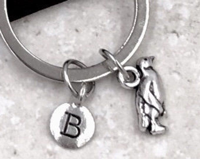 Personalized Silver Initial Keychain Gifts, Penguin Keychain Accessory, Sterling Silver Birthstone Add On's Available