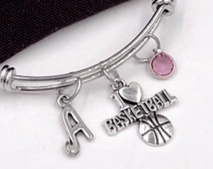 Basketball Bracelet, Basketball Team Gift, Basketball Jewelry Gift, Sport Team Gift, Sports Bangle, Personalized Birthstone Initial Jewelry