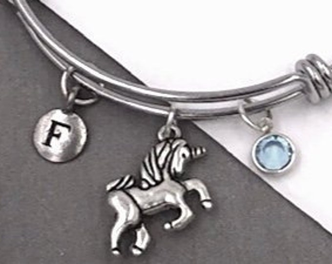 Silver Unicorn Bracelet, Gifts for Women and Girls, Unicorn Birthday Jewelry Gifts, Personalized Initial Birthstone Bangle Charm Bracelet