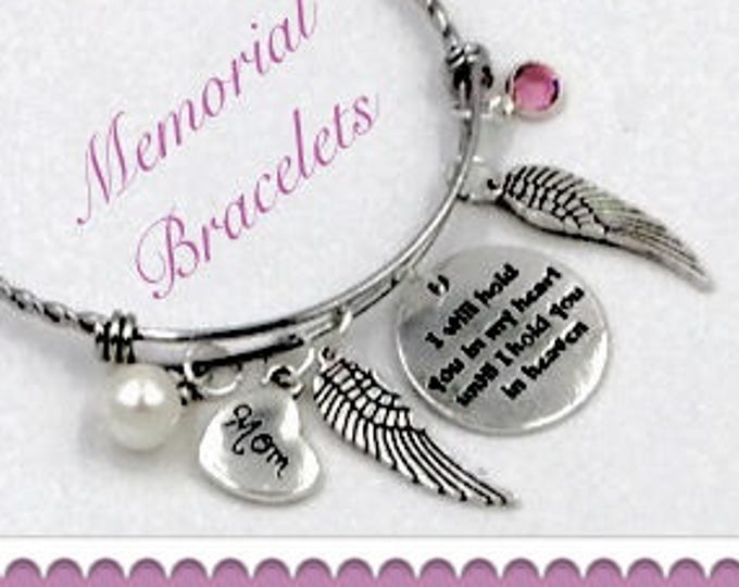 Personalized Bereavement Gifts, Silver Jewelry Mom Memorial Bracelet, Choice of Family Heart Charm and Sterling Silver Birthstone