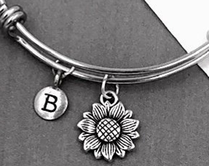 Sunflower Bracelet, Personalized Silver Jewelry Gifts for Women and Girls Includes Letter Charm, Sterling Silver Birthstone Add On Available