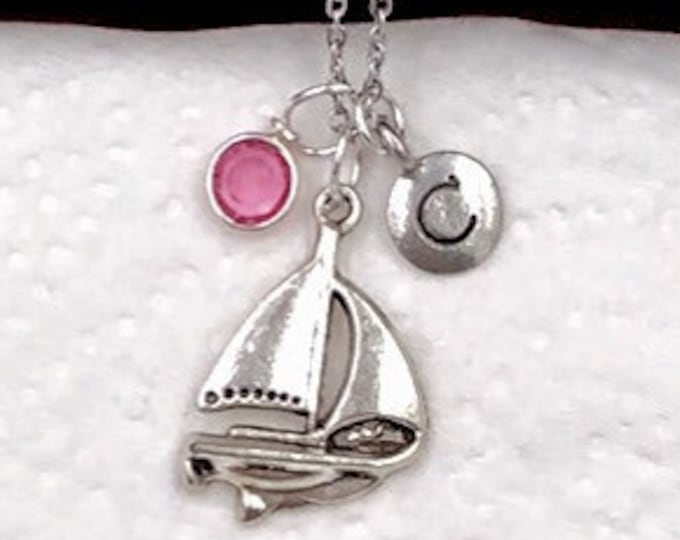 Personalized Sailing Gifts, Silver Sailboat Necklace Jewelry for Women and Girls, Sterling Silver Birthstone and Initial Included