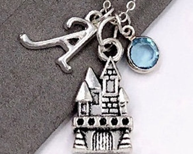 Personalized Castle Gifts, Silver Castle Necklace Jewelry for Women and Girls, Sterling Silver Birthstone and Initial Included