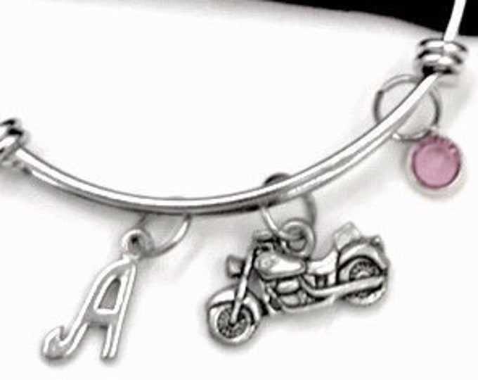 Motorcycle bracelet, Motorcycle Bangle, Gifts For Women and Girls, Transportation Jewelry, Personalized Initial Birthstone Bangle Bracelet