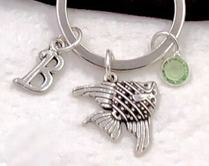 Personalized Fish Gifts, Silver Fish Keychain Jewelry for Women and Girls, Sterling Silver Birthstone and Initial Included