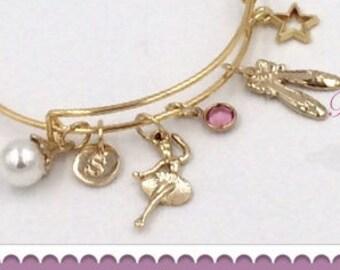 Dance Bracelet, Dance Gifts, Dance Bangle Charm Bracelet, Birthstone Ballet Bangle Bracelet, Personalized Dance Bracelet, Dance Jewelry