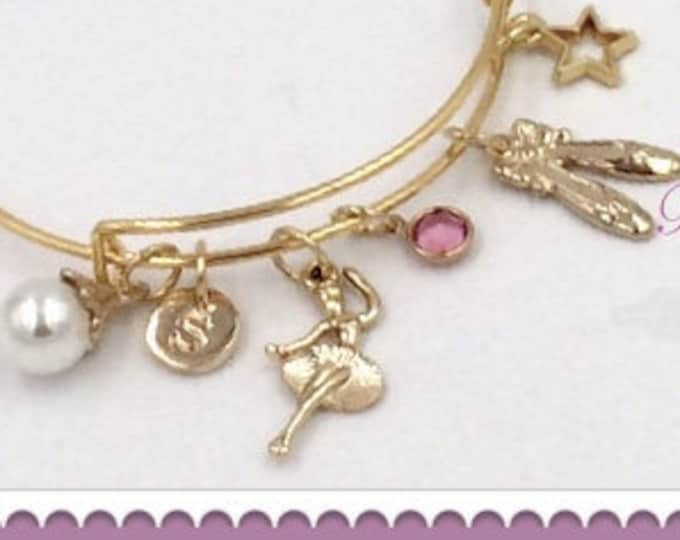 Dance Bracelet, Dance Gifts, Dance Bangle Charm Bracelet, Birthstone Ballet Bangle Bracelet, Personalized Dance Bracelet, Dance Jewelry