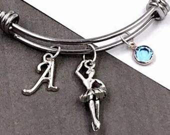 Personalized Ballet Bracelet,Silver Jewelry Ballerina Gifts, Sterling Silver Swarovski Birthstone and Silver Initial Charm Included