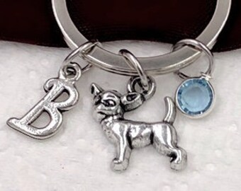 Personalized Chihuahua Dog Gifts, Silver Chihuahua Keychain Jewelry for Women and Girls, Sterling Silver Birthstone and Initial Included
