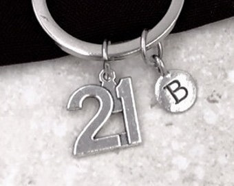 Personalized Silver Initial Birthday Keychain Gifts, 21st Birthday Keychain Accessory, Sterling Silver Birthstone Add On Available