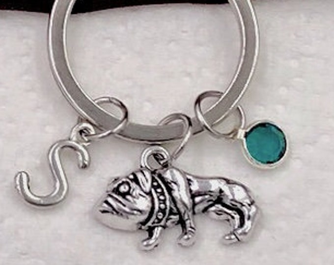 Personalized Pug Dog Gifts, Silver Pug Keychain Jewelry for Women and Girls, Sterling Silver Birthstone and Initial Included