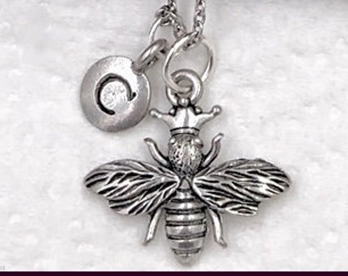Bumblebee Necklace, Honey Bee Jewelry, Gifts for Women and Girls, Personalized Initial Charm Necklace, Flying Insects, Flowers