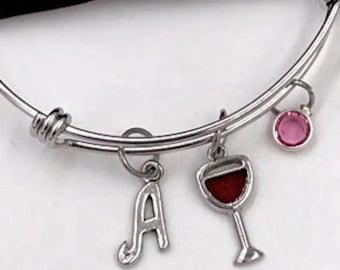Wine Bracelet, Red Wine Glass Bangle, Women's Red Wine Jewelry Gifts, Celebration Retirement, Girls Vacation, Personalized Charm Bangle