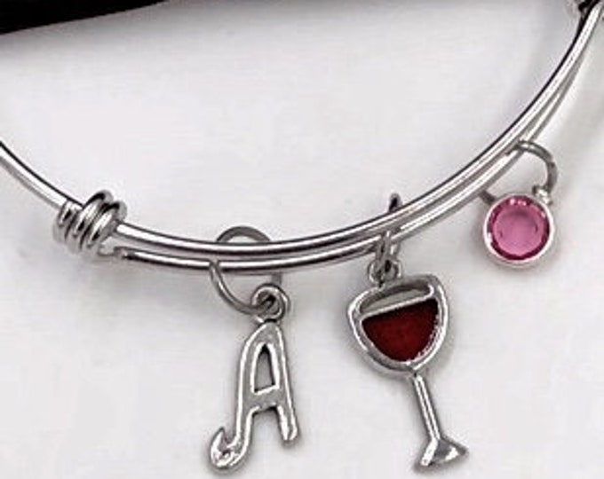 Wine Bracelet, Red Wine Glass Bangle, Women's Red Wine Jewelry Gifts, Celebration Retirement, Girls Vacation, Personalized Charm Bangle
