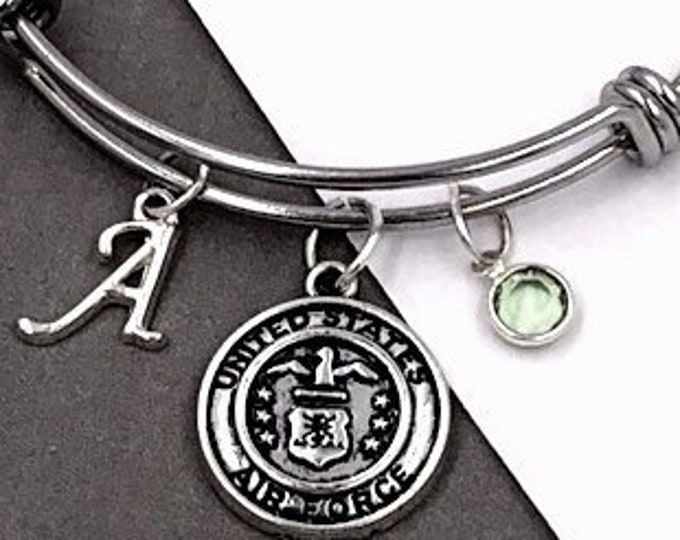Personalized Silver Military Jewelry Gifts for Women and Girls, Includes a Sterling Silver Birthstone and Letter Style Charm