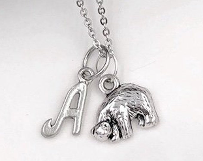 Bear Necklace, Bear Jewelry for Women and Girls, Animal Gift Ideas, Silver Bear Birthday Gift, Personalized Bear Initial Jewelry Gifts