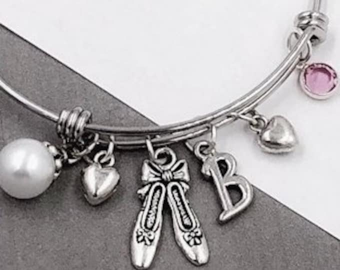 Personalized Silver Ballet Dance Jewelry Gifts for Girls, Includes a Sterling Silver Birthstone and Letter Charm