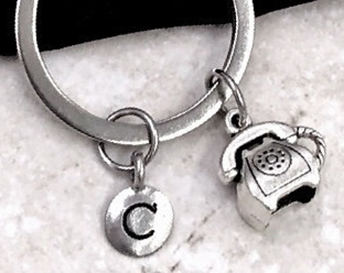 Personalized Silver Initial Vintage Phone Keychain Gifts, Phone Keychain Accessory, Sterling Silver Birthstone Add On's Available