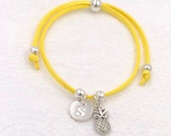 Pineapple cord charm anklet, personalized pineapple anklet, pineapple gifts, pineapple jewelry, pineapple charm anklet, fruit anklet