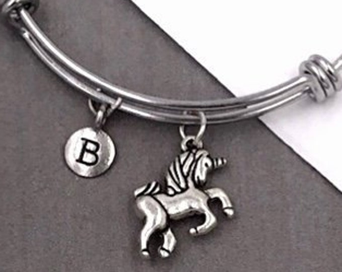 Unicorn Bracelet, Personalized Silver Jewelry Gifts for Women and Girls Includes Letter Charm, Sterling Silver Birthstone Add On Available