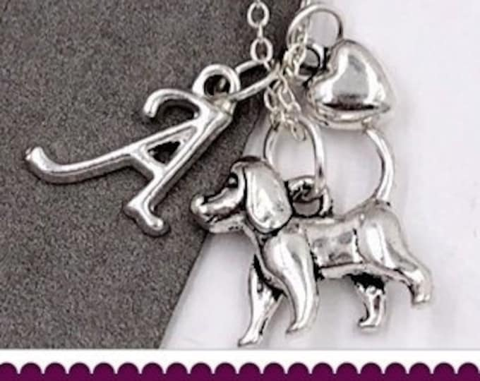 Beagle Necklace, Silver Dog Jewelry, Animal Necklace, Gift for Women and Girls, Personalized Initial Jewelry, Veterinarian Gift Ideas