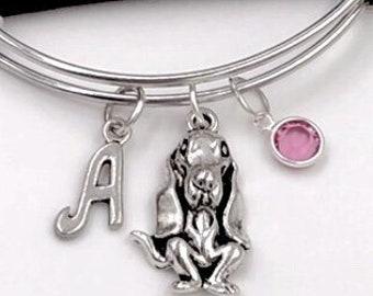 Basset Hound Dog Bracelet, Animal Bangles, Puppy Charm, Gift for Women and Girls, Personalized Birthstone Initial Bracelet, Veternarian Gift